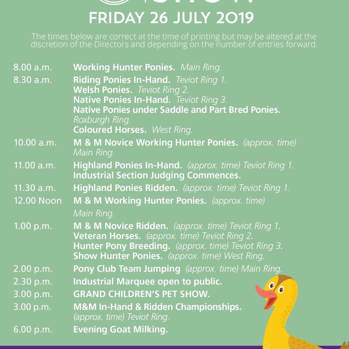 Friday 2019 Programme