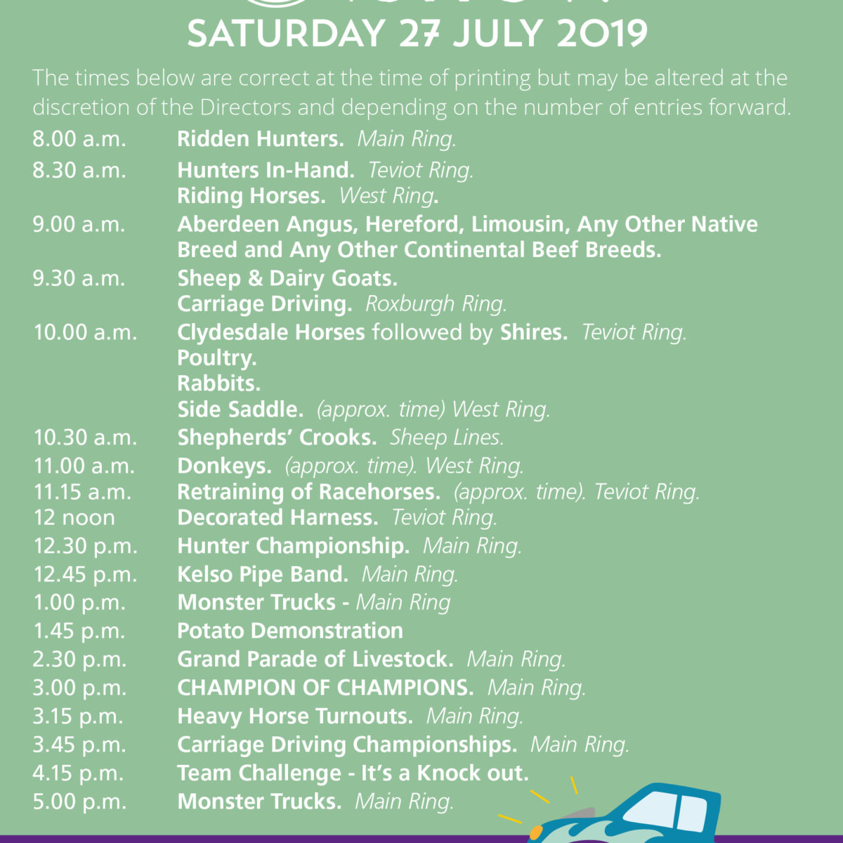 Saturday 2019 Programme