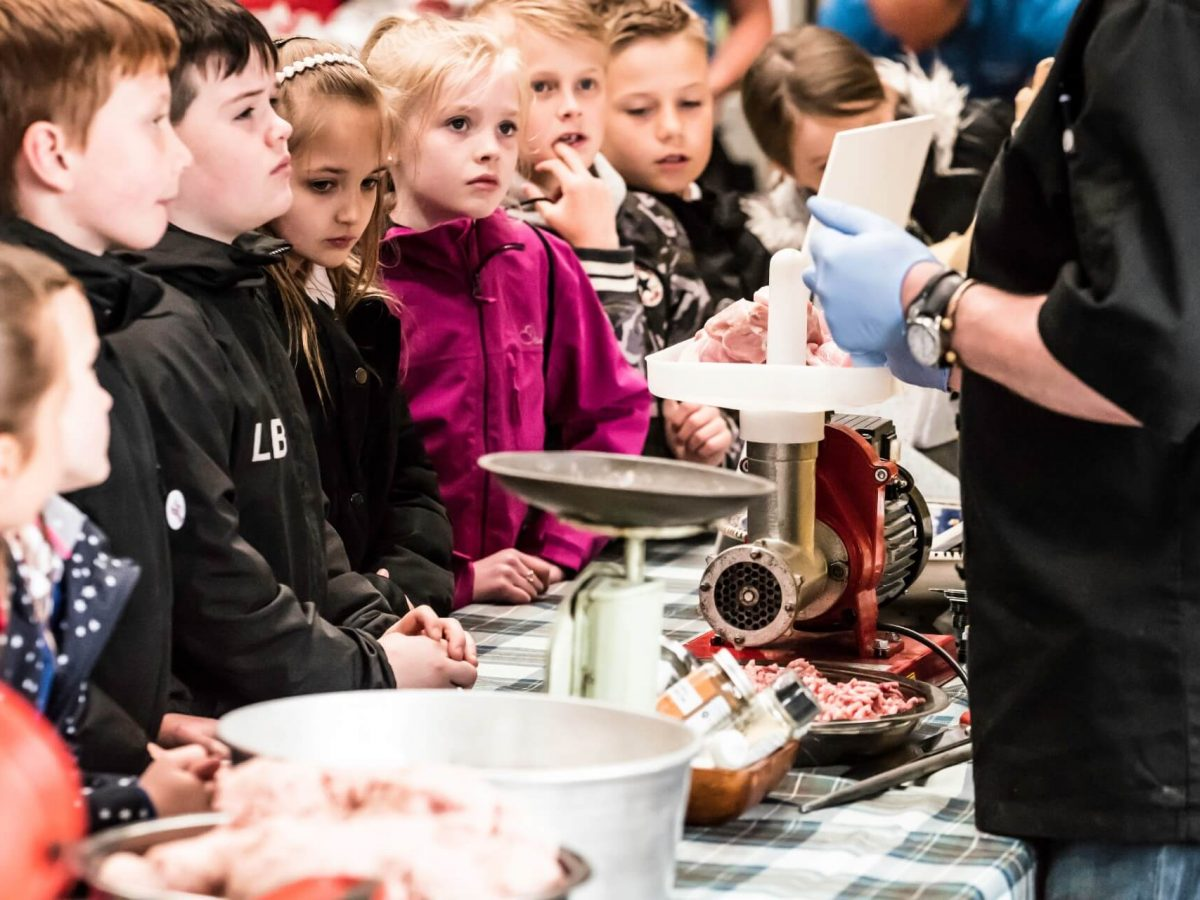 Children at the Border Union Agricultural Society's education day learning about meat production